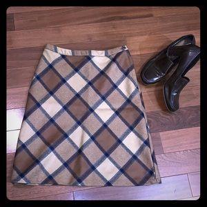 J. Crew Plaid Lambs Wool Skirt